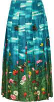 Gucci Pleated Printed Silk-satin Skirt - Jade
