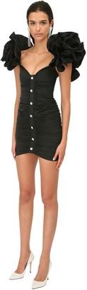 Alessandra Rich Taffeta Mini Dress W/ Ruffles