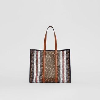 Burberry Small Monogram Stripe E-canvas Tote Bag