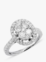 E.W Adams 18ct White Gold Oval Diamond Cluster Ring