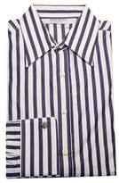 Saint Laurent Men's Cotton Point Collar Dress Shirt Striped White Navy.