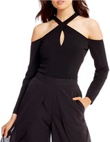 Belle Badgley Mischka Cross Neck Bodysuit