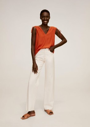 MANGO Ruched detail top orange - XS - Women