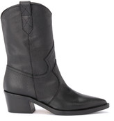 Texan Via Roma 15 Ankle Boot In Black Grained Leather