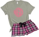 Proenza Schouler Three In A Pod Women's Sleep Bottoms - Pink & Purple Plaid Circle Monogram Shorts Pajama Set - Girls & Women
