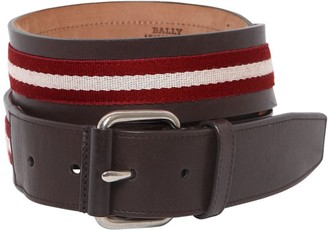 Bally 40mm Saffiano Leather Belt W/ Stripes