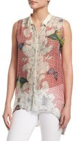 Johnny Was Sleeveless Silk Butterfly-Print Tunic