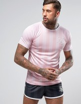 SikSilk T-Shirt In Pink Stripe With Curved Hem