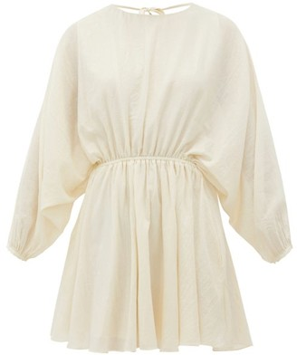 Loup Charmant Kitta Backless Batwing-sleeve Cotton Mini Dress - Womens - Ivory