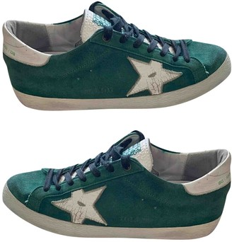 Golden Goose Superstar Green Leather Trainers
