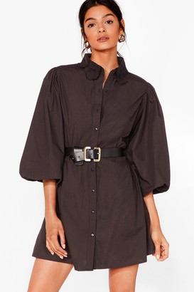 Nasty Gal Womens Lace Your Steps Puff Sleeve Shirt Dress - Black - 8