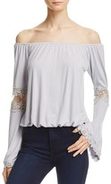 POL Off-the-Shoulder Lace-Inset Blouse