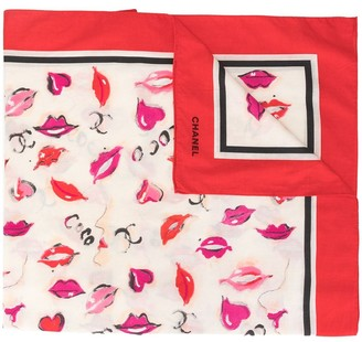 Chanel Pre Owned CC lips logo scarf
