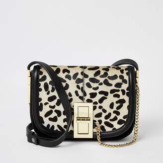 River Island Black leather leopard print cross body bag