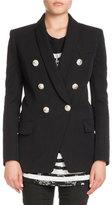 Balmain Shawl-Collar Six-Button Long Wool Jacket