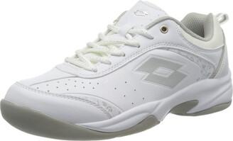 Lotto Women's Court Logo Viii W Si Tennis Shoes wei (WHITE/SILVER 001) 3.5 UK