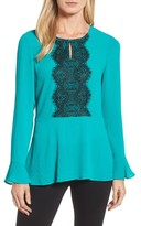 Chaus Women's Lace Trim Bell Sleeve Top