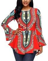 BeneGreat Women's Long Bell Sleeve African Print Peplum Blouse Top Shirt XXL
