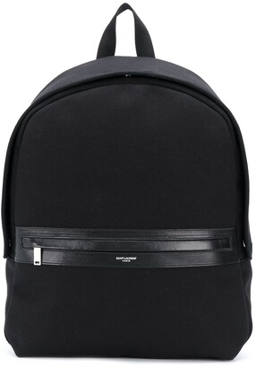 Saint Laurent Cotton Backpack With Leather Detailing
