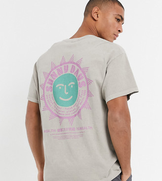 New Look oversized T-shirt with back print in stone