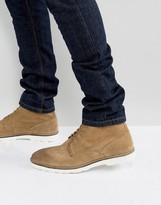 Asos Lace Up Boots In Stone Suede With White Sole
