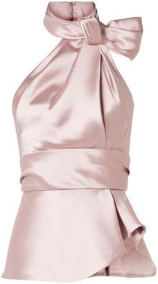 Brandon Maxwell Bow-embellished Satin-twill Halterneck Top