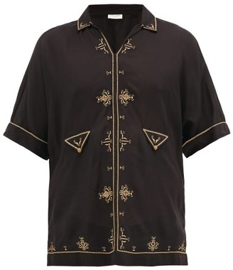 Saint Laurent Embroidered Voile Shirt - Mens - Black Gold