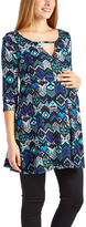 Glam Blue & White Geometric Keyhole Maternity Swing Tunic