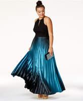 City Chic Plus Size Ombré Pleated Satin Gown