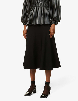 Valentino Logo-embroidered high-waisted stretch-knit midi skirt
