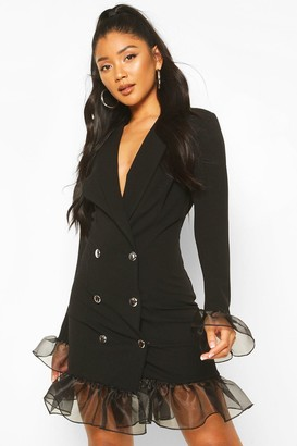 boohoo Ruffle Organza Button Front Blazer Dress