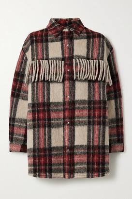 IRO Cocha Oversized Fringed Checked Wool-blend Jacket - Red