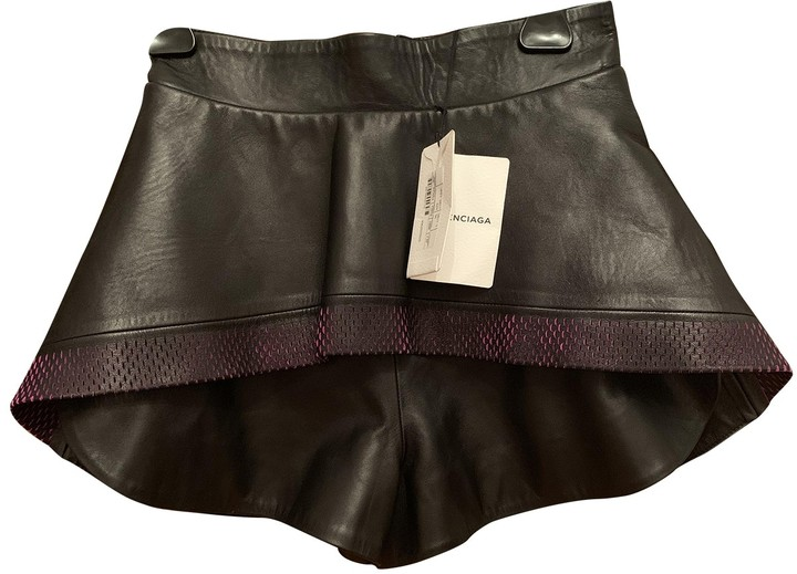 Balenciaga Black Leather Shorts for Women