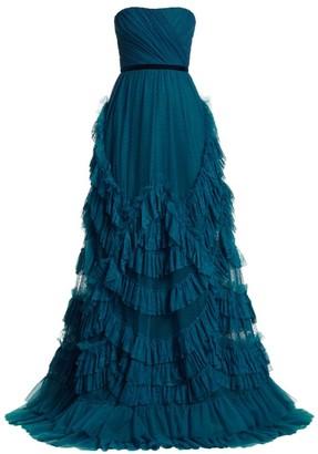 Marchesa Point D'espirt Ruffled Lace Ball Gown