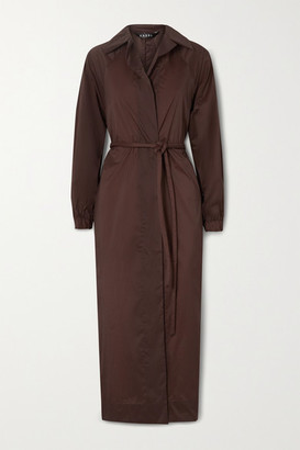 Kassl Editions Belted Oversized Shell Trench Coat - Burgundy