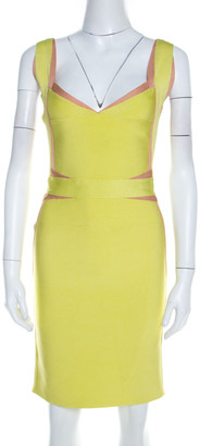 Herve Leger Lime Green Knit Estelle Bandage Dress S