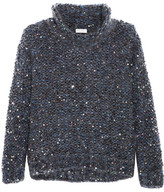 Brunello Cucinelli Sequined Chunky-knit Turtleneck Sweater - Gray