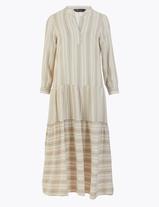 Marks and Spencer Striped V-Neck Tiered Midi Relaxed Dress