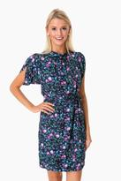 Rebecca Taylor Ruby Floral Petal Sleeve Silk Dress