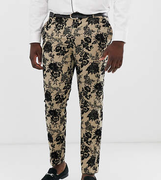 Twisted Tailor super skinny suit pants with floral flocking-Tan