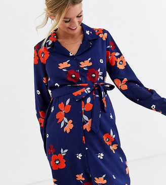 Influence Maternity shirt dress in navy floral print