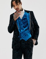 Asos Edition EDITION slim tuxedo jacket in teal burnout velvet
