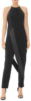 Halston Crêpe Georgette High Neck Jumpsuit with Skirt Overlay