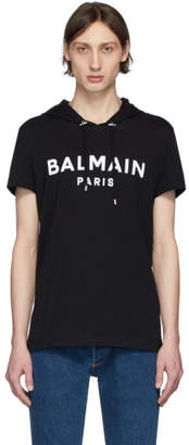 Balmain Black Logo Short Sleeve Hoodie
