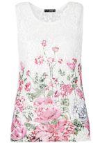 Quiz White Crochet Flower Print Sleeveless Top