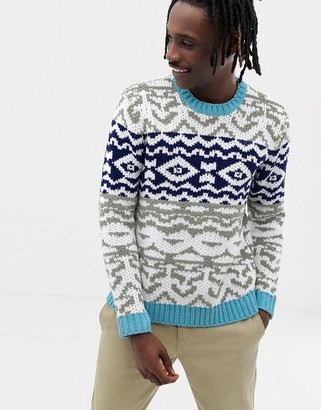 Asos Design DESIGN chenille sweater with fairisle pattern design-Navy