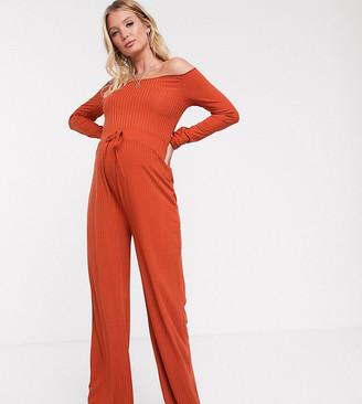 Fashionkilla Maternity ribbed flare bottom in rust
