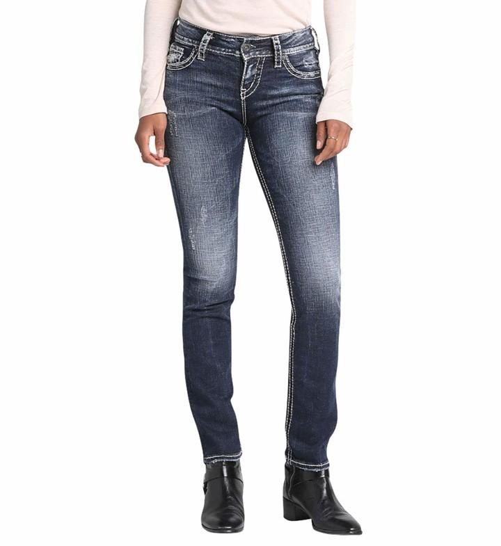 Silver Jeans Women's Suki Mid-Rise Straight Leg Jeans