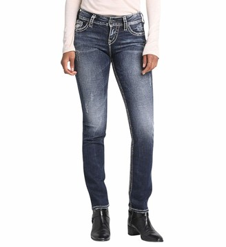 Silver Jeans Women's Suki Mid-Rise Straight Leg Jeans