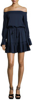 Alexis Rylan Pleated Off-the-Shoulder Dress, Navy Blue